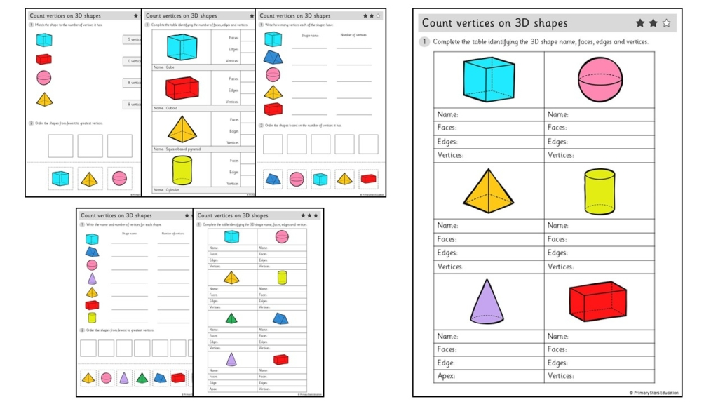 Count Vertices On 3D Shapes Worksheets – Primary Stars Education